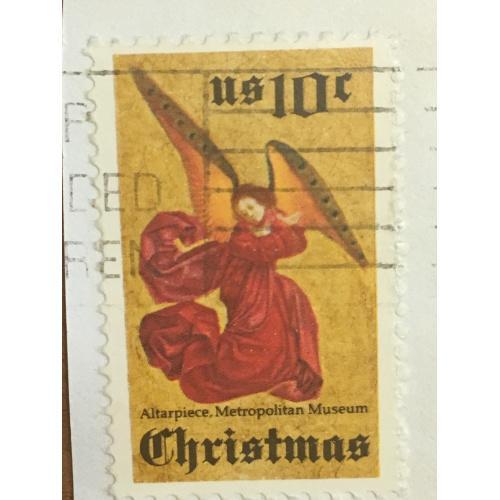 Марка США. Рождество. Ангел. 10 центов. На бумаге.