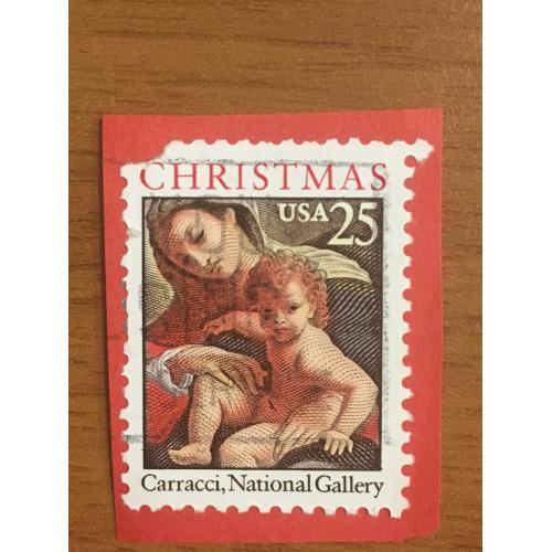 Марка США. Рождество. Дева Мария с сыном. 25 центов. Репродукция Каррацци. На бумаге.