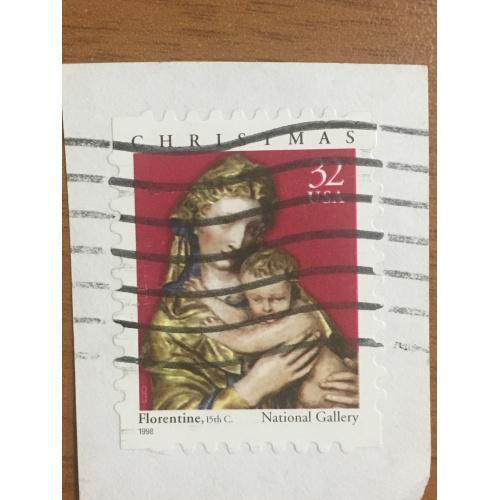 Марка США. Рождество. Дева Мария с сыном. 32 центов. Репродукция Флорентино. 1998 г. На бумаге.