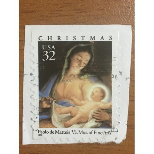 Марка США. Рождество. Дева Мария с сыном. 32 центов. Репродукция Паоло де Маттеис. 1996 г.