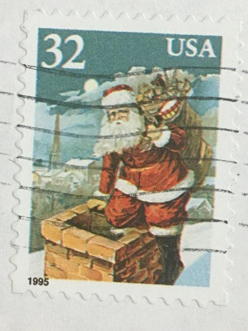 Марка США. Рождество. Санта Клаус. 32 цента. 1995 год. На бумаге.