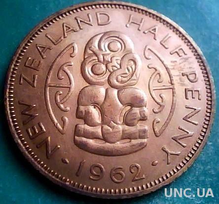 Новая Зеландия 1/2 пенни 1962 год