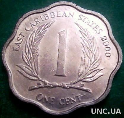 Восточно Карибские штаты 1 цент 2000 год
