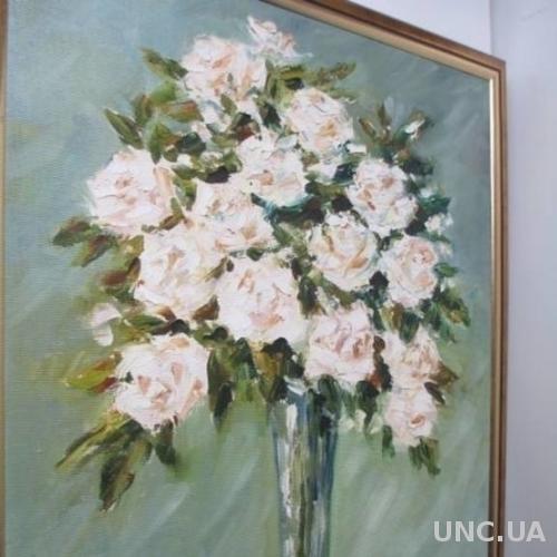 """Авторская Картина """" Розы в Стекле"""".  Л. Колядова. Рама."""