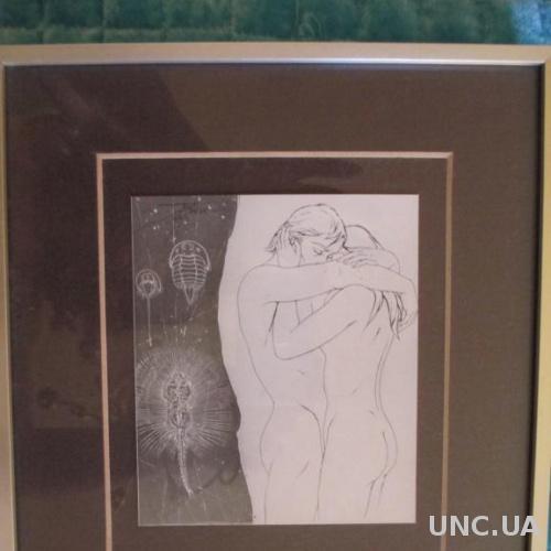 Картина стиль Ню. Обнаженные Он и Она. Пара любовников. Автор Италия 1970 г. Рама.