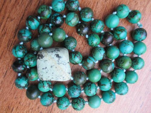 Натуральная  Бирюза  ожерелье-намисто. длина -65 см. вес -81 гр.