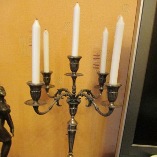 Серебряный Подсвечник Европа ХIХ век. клеймо Лев и 800. вес- 1 кг. 500 гр. h- 46 см. на 5 свечей.