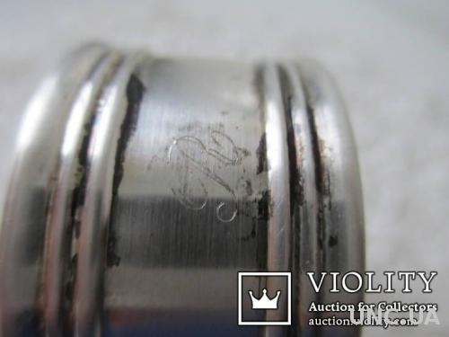 Серебряное кольцо для салфеток. вес- 25гр. монограмма. серебро 800 Италия.