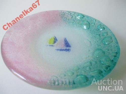 Тарелка КОРАБЛИК цветное стекло VENEZIA. МУРАНО- муранское. Оригинал.
