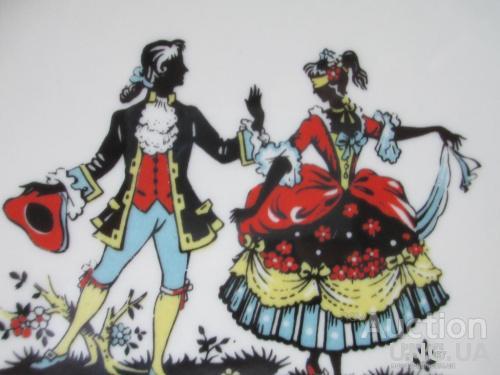 Антикварная Тарелка Seltman BAVARIA. Кавалер с Дамой на  МАСКАРАДЕ. D-23,5 см. VEIDEN. 1941-69 г.