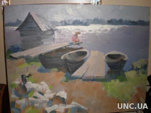 Лодки у причала(автор возможно Поликаренко г.Сумы)