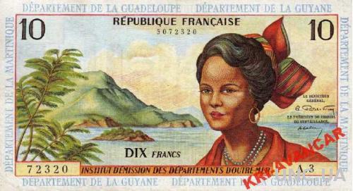 Французские Антилы 10 новых франков 1964 год КОПИЯ