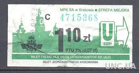 Билет трамвай Краков ж/д 1