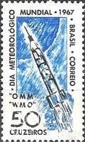 Бразилия 1967 Всемирный День метеорологии погода ракета космос ** о