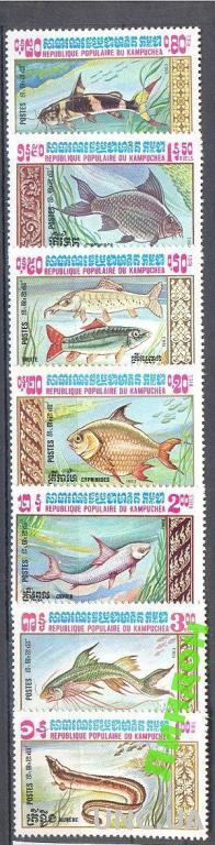 Кампучия 1983 морская фауна рыбы **