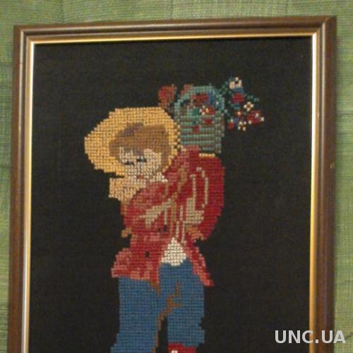 картина вышивка Девочка с букетом