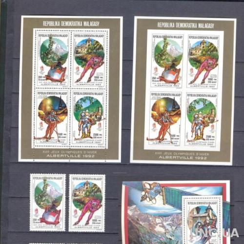 Мадагаскар 1993 спорт олимпиада блок+серия+листы зуб+без/зуб ** о