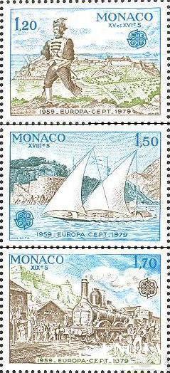 Монако 1979 Европа Септ почта костюм корабли флот ж/д паровоз серия ** о