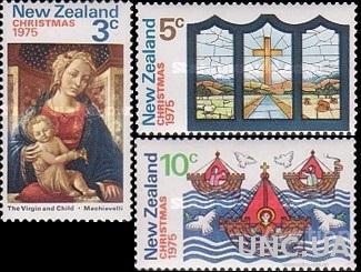 Новая Зеландия 1975 Рождество живопись религия флот корабли птицы ** м
