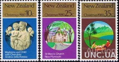 Новая Зеландия 1980 Рождество живопись религия флора ** м