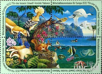 ООН 1991 защита природы фауна птицы рыбы ракушки флора цветы деревья ** м