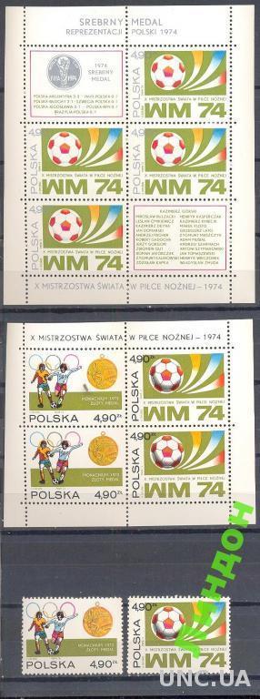 Польша 1974 спорт футбол ЧМ м/ лист блок серия **о