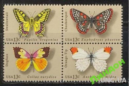 США 1977 бабочки насекомые фауна кварт ** о