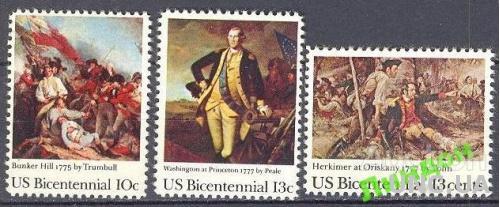 США 1977 война Трамбулл живопись 3 марки ** о