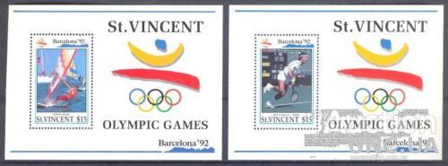 Ст Винсент 1992 спорт олимпиада яхты флот теннис ** о