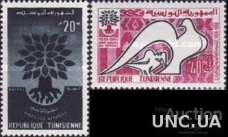 Тунис 1960 ООН Год беженцев флора дерево фауна птицы ** о