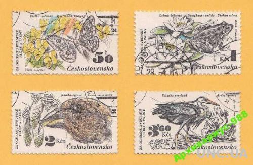 ФАУНА 1983 ЧЕХОСЛОВАКИЯ Животные ПТИЦЫ Бабочки 4м.