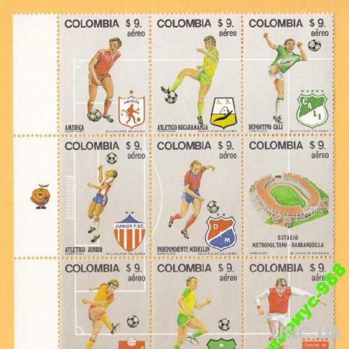 КОЛУМБИЯ 1982 ФУТБОЛ Спорт БЛОК 9м ЛИСТ MNH**