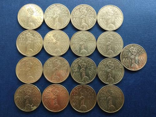 Украина 1 гривня 2015 год. Юбилейные. Лот 17 монет