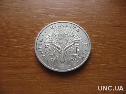 Джибути 5 франков 1991 г