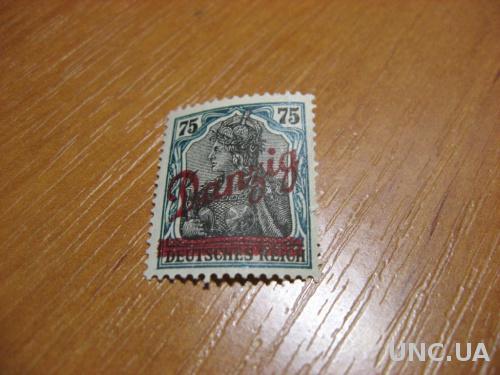 Марка 1 рейх Данцинг 75 пф негашеная надпечатка