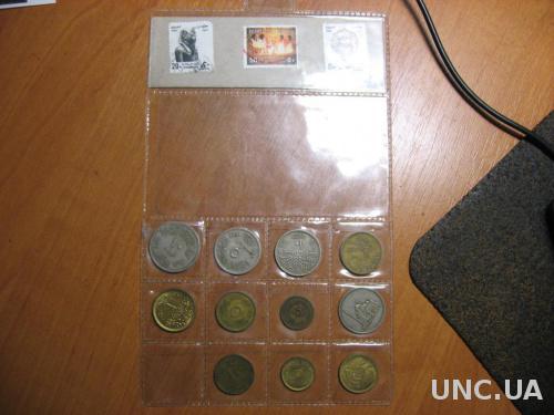Набор Египет 11 монет и 3 марки