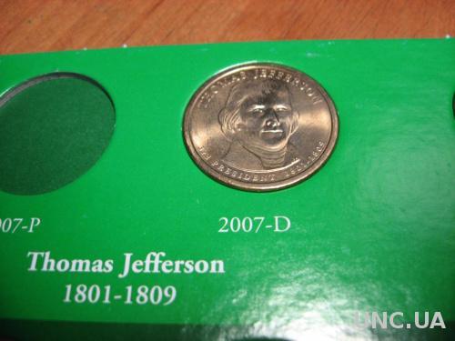 США 1 доллар 2007 Д  Джеферсон