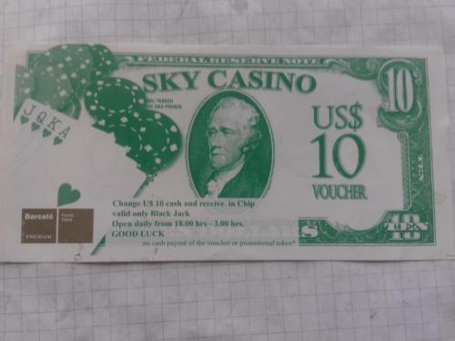 Жетон для игры в казино 10 долларов Карибы