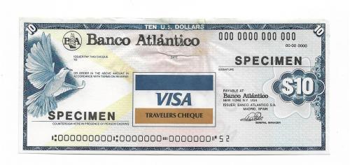 10 долларов образец specimen дорожный чек Visa с вод. знаками США Испания, повреждение