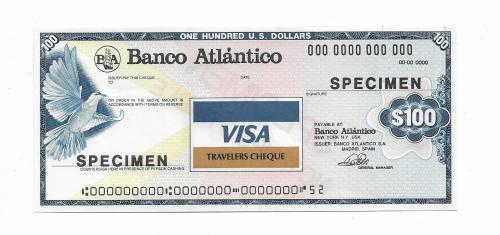 100 долларов образец specimen дорожный чек Visa с вод. знаками США Испания