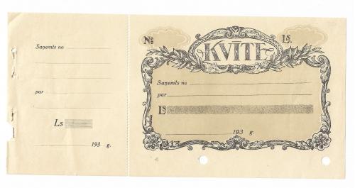 1930 -тые Латвия чек бланк, ден. ед. - лат. С вод. знаком.