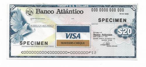 20 долларов образец specimen дорожный чек Visa с вод. знаками США Испания, повреждение