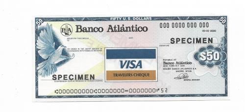 50 долларов образец specimen дорожный чек Visa с вод. знаками США Испания
