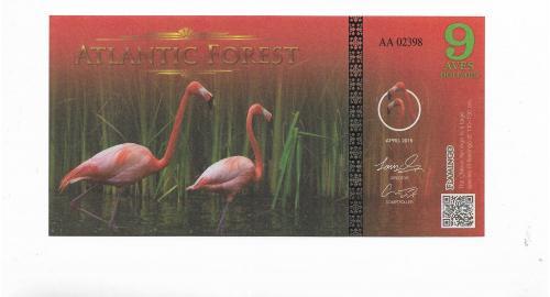 9 птичьих долларов Атлантический Лес фламинго 2016 неофициальный выпуск.