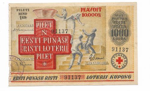 Эстония Красный Крест лотерея 1 крона 1931 редкая
