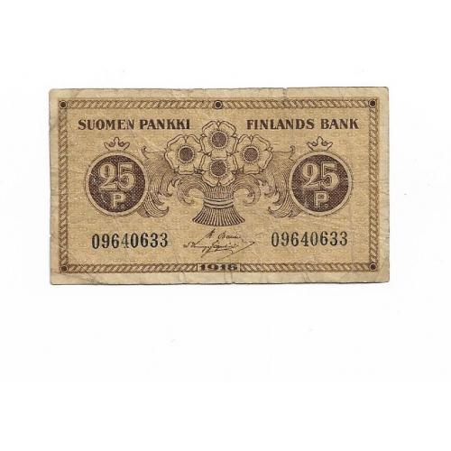 Финляндия 25 пенни 1918 Basilier, Hisinger-Jagerskiold