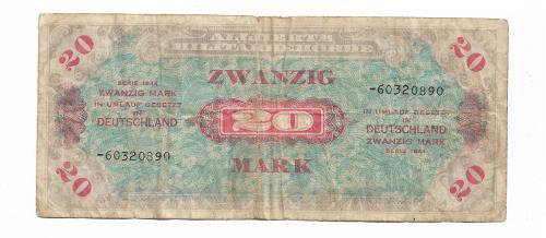 Германия советская зона оккупации 20 марок 1944