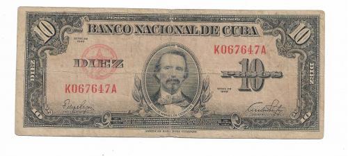 Куба 10 песо 1949