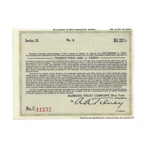 Купон 22,5 цента США Нью-Йорк 1922, 1925, 1928. № 11232