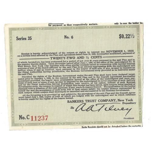 Купон 22,5 цента США Нью-Йорк 1922, 1925, 1928. № 11237